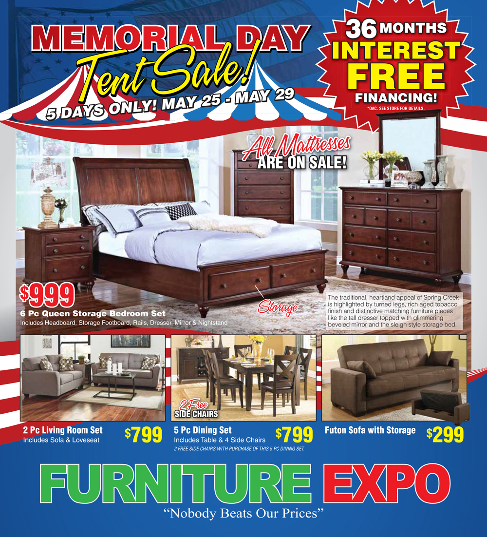 Memorial day sale furniture expo salinas for Furniture expo
